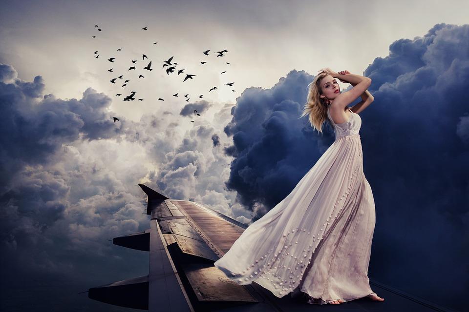 Woman, Dress, Aircraft, Clouds, Sky, Girl, White Dress