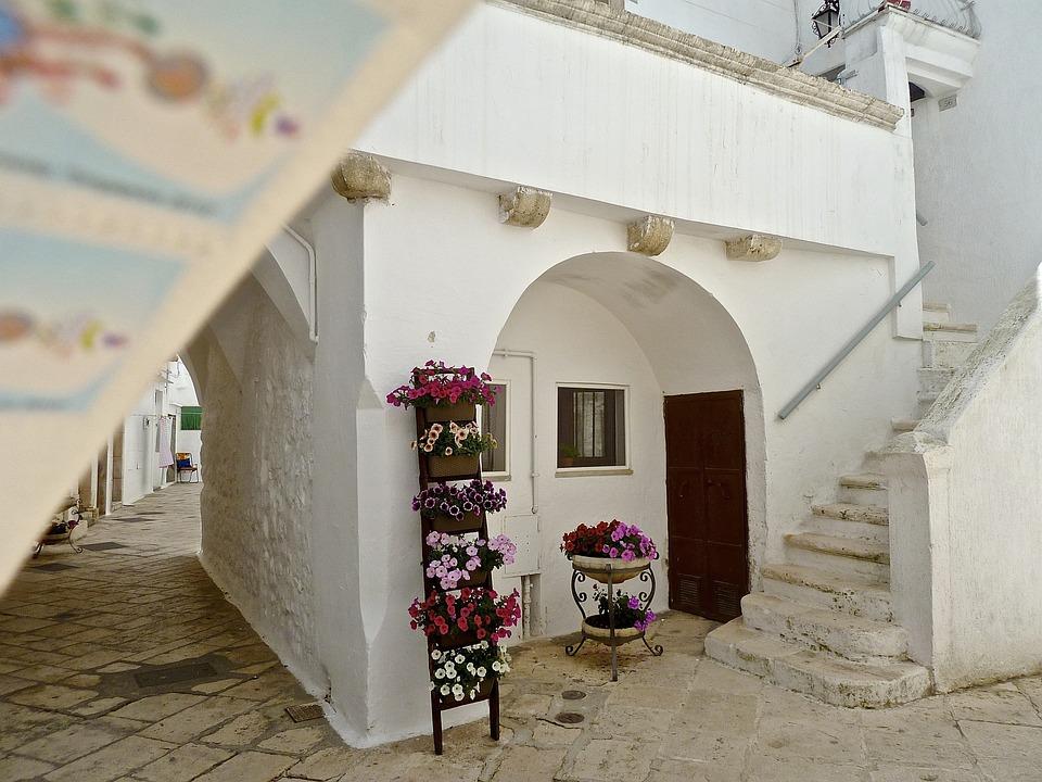 Alley, Arches, Stone, House, Entrance, White, Facade