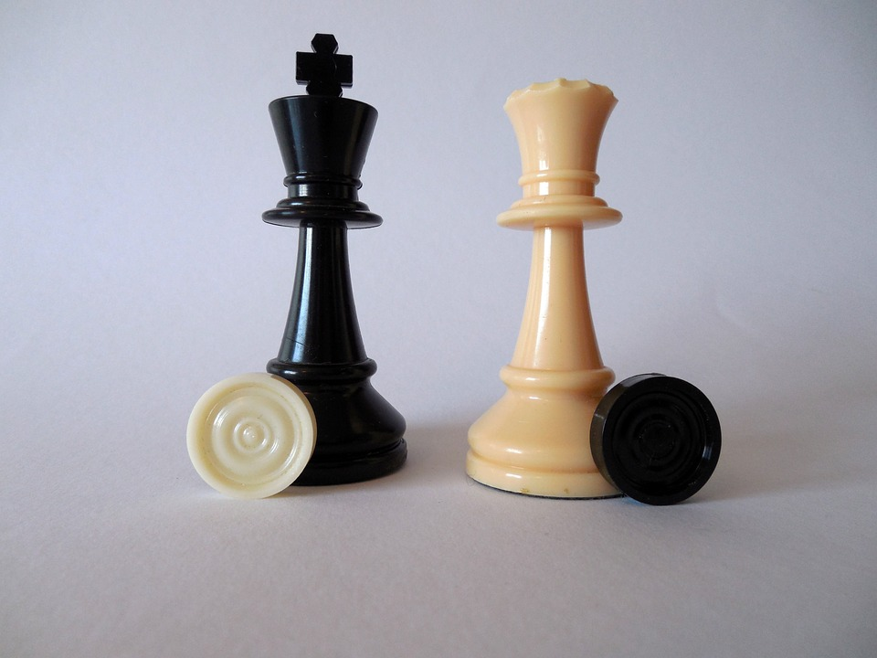 Chess, King, Lady, Chess Pieces, Black, White, Figures
