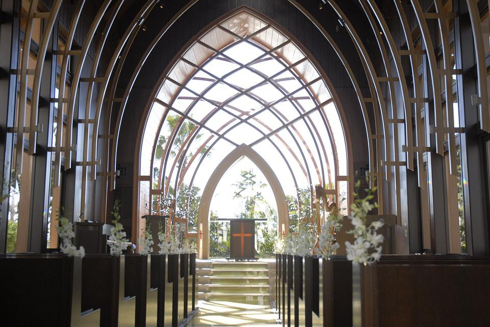 Chapel, Wedding, Glass, Decoration, White Flowers