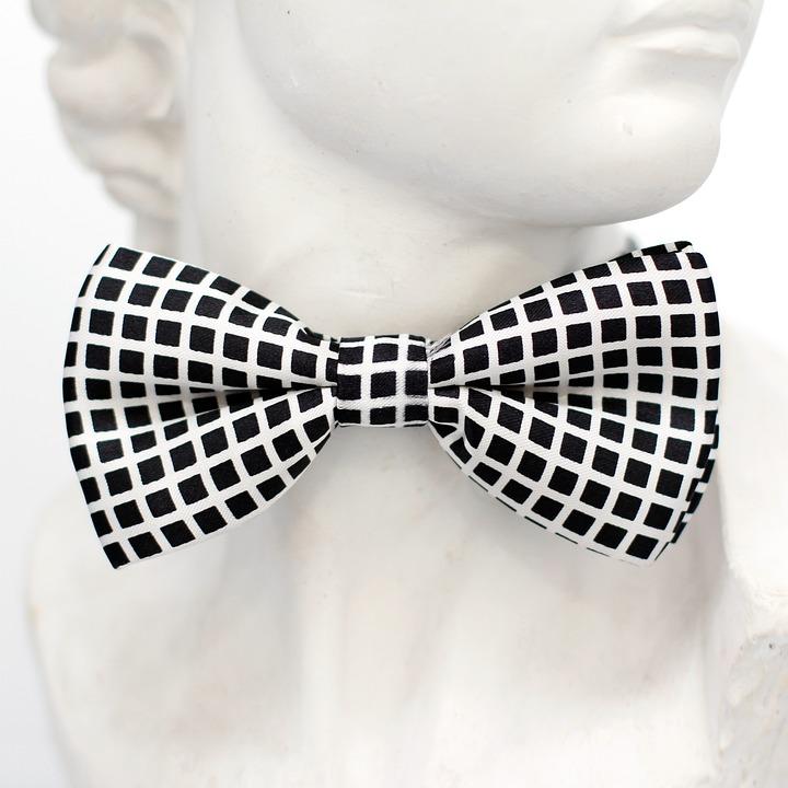 Black, White, Checkered, Fly, Tie, Loop, Fashion, Man