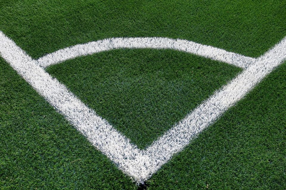 Football Field, Corner, Artificial Turf, Mark, White