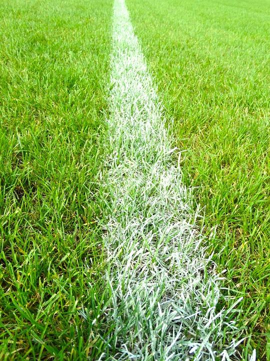 Football Field, Line, Mark, White, Stripes, Grass
