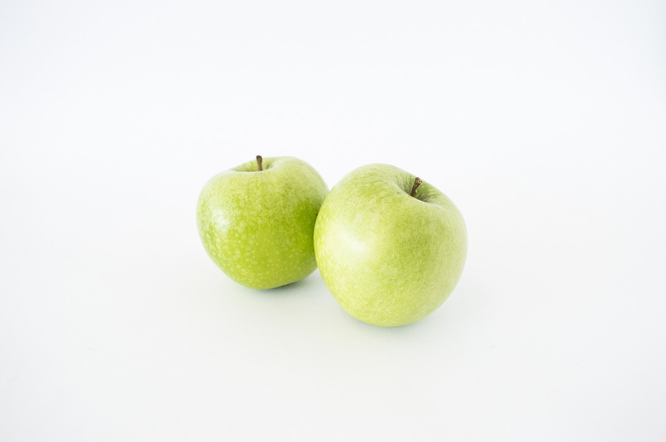 Apples, Isolated, Green, Food, Healthy, White, Fruit