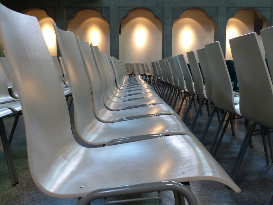 Chairs, Chair Series, Rows Of Seats, White, Seat, Hall