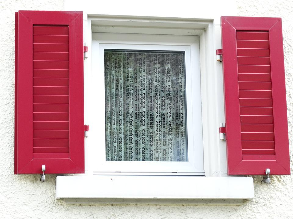 Window, Shutters, Red, White, Curtains, Home, Facade