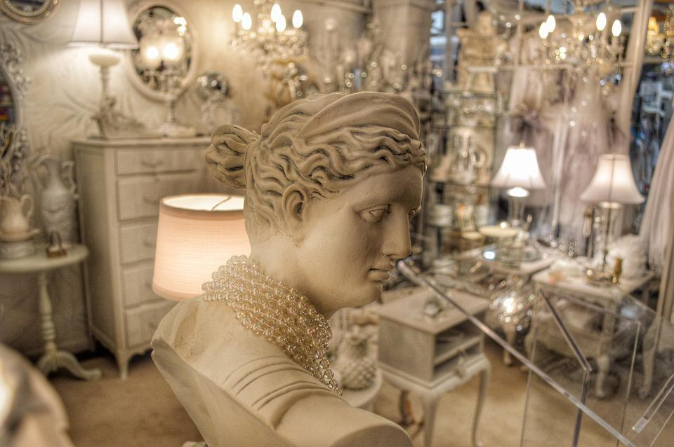 White, Statue, Bust, Lamp, Mirror, Jewelry, Female
