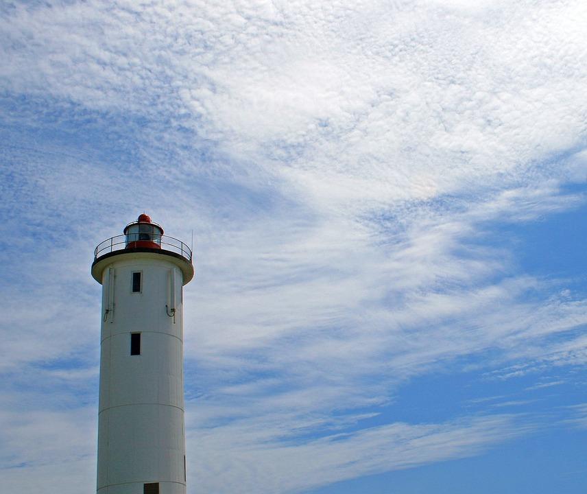 Lighthouse, Nautical, Beacon, White, Tall, Light