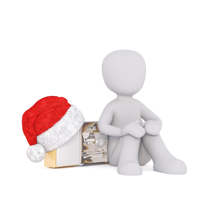 White Male, 3d Model, Fig, White, Christmas, Santa Hat