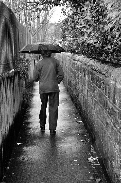 Old, Man, Rain, Black, White, Seasons, Winter, Weather