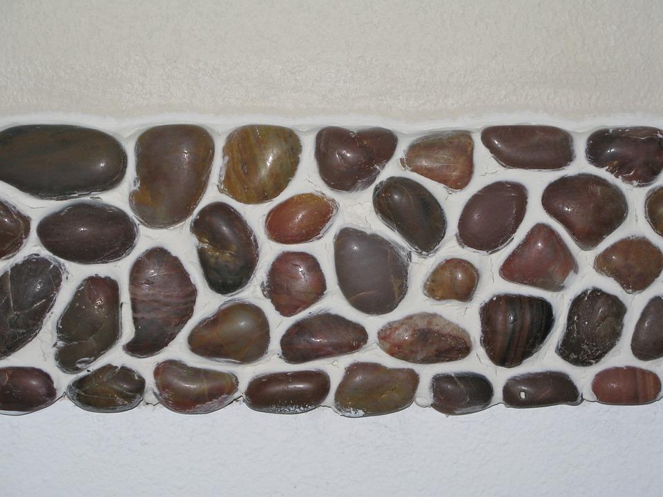river rock brown white caulk mosaic tile natural
