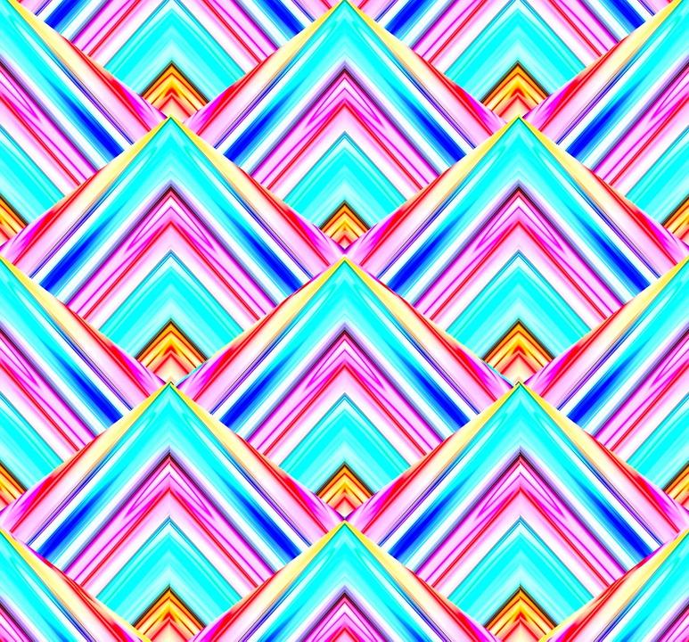 Aqua, Blue, Pink, White, Pyramid, Shape, Diamond