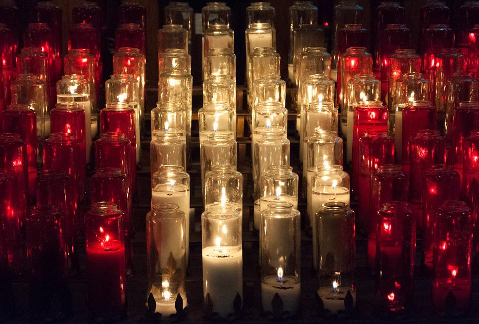 Candles, Church, Red, White