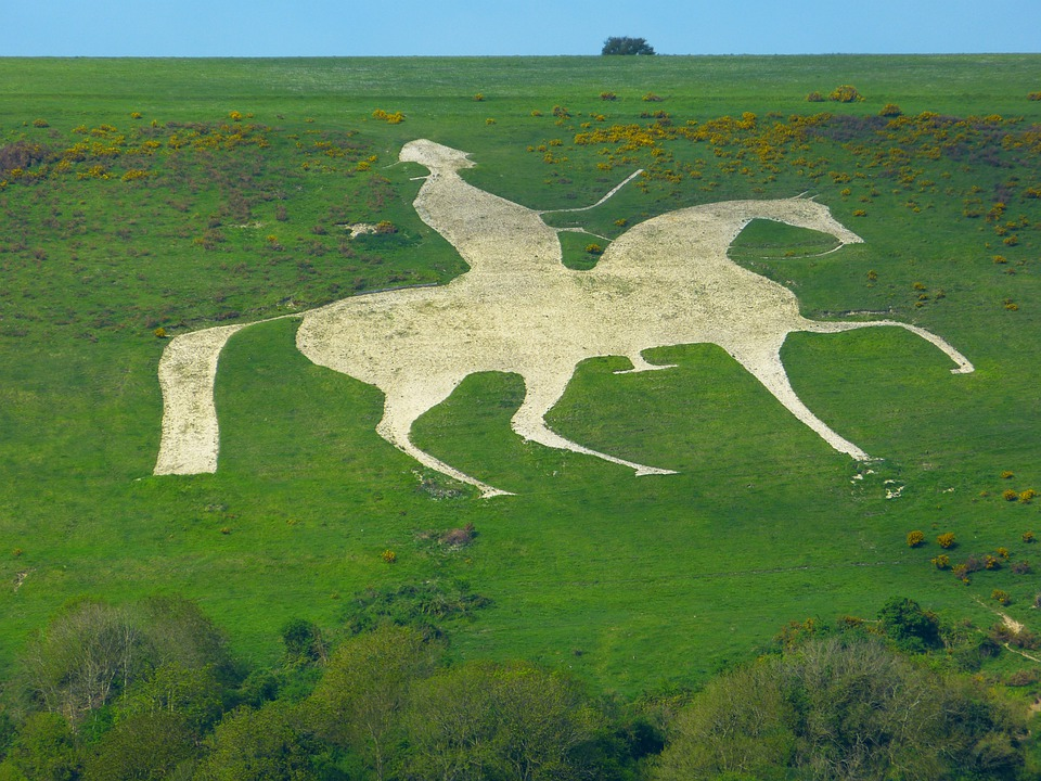 Outline, Horse, Reiter, White, Osmington, England