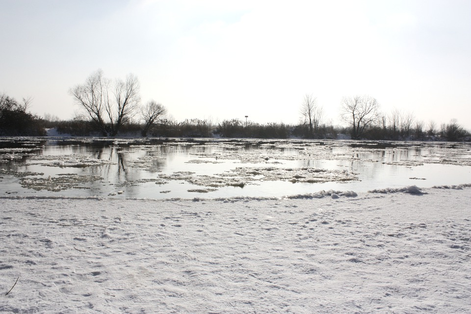 River, Frozen River, White, Snow, Ice, Landscape, Cold