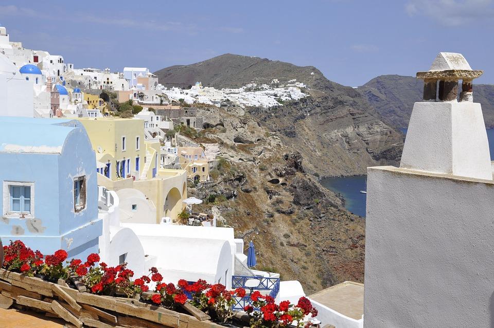 Santorini, White, Blue, Greece, Island, Sea, Lime