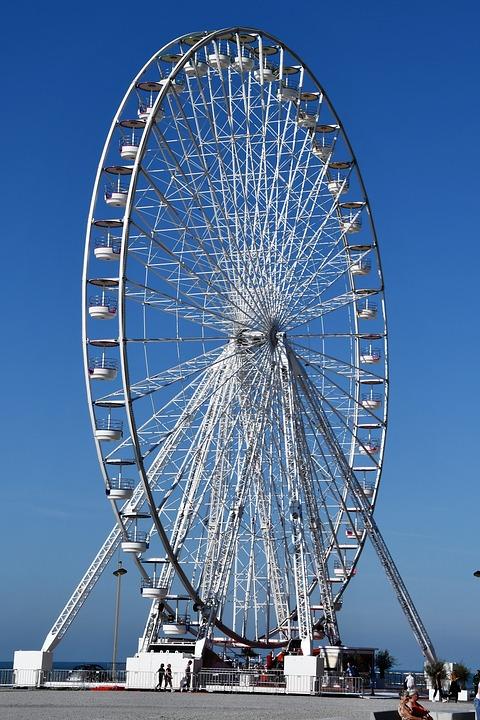 Ferris Wheel, White, Fair, Tower, Sky, Hobbies, High
