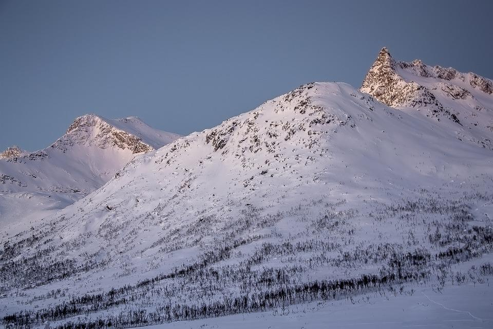 Mountains, Snow, White, Sunset, Summit, Winter