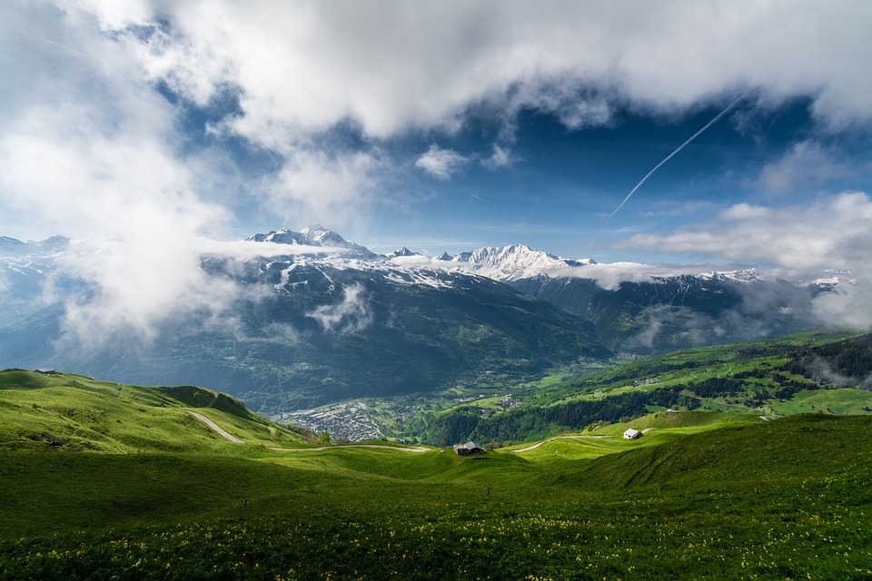 Mountain, Sky, Spring, Clouds, Snow, Blue, White, Green