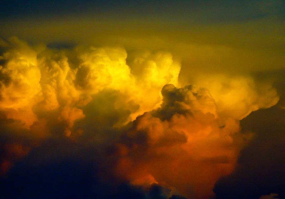 Clouds, Sky, Orange, White, Grey, Black, Storm