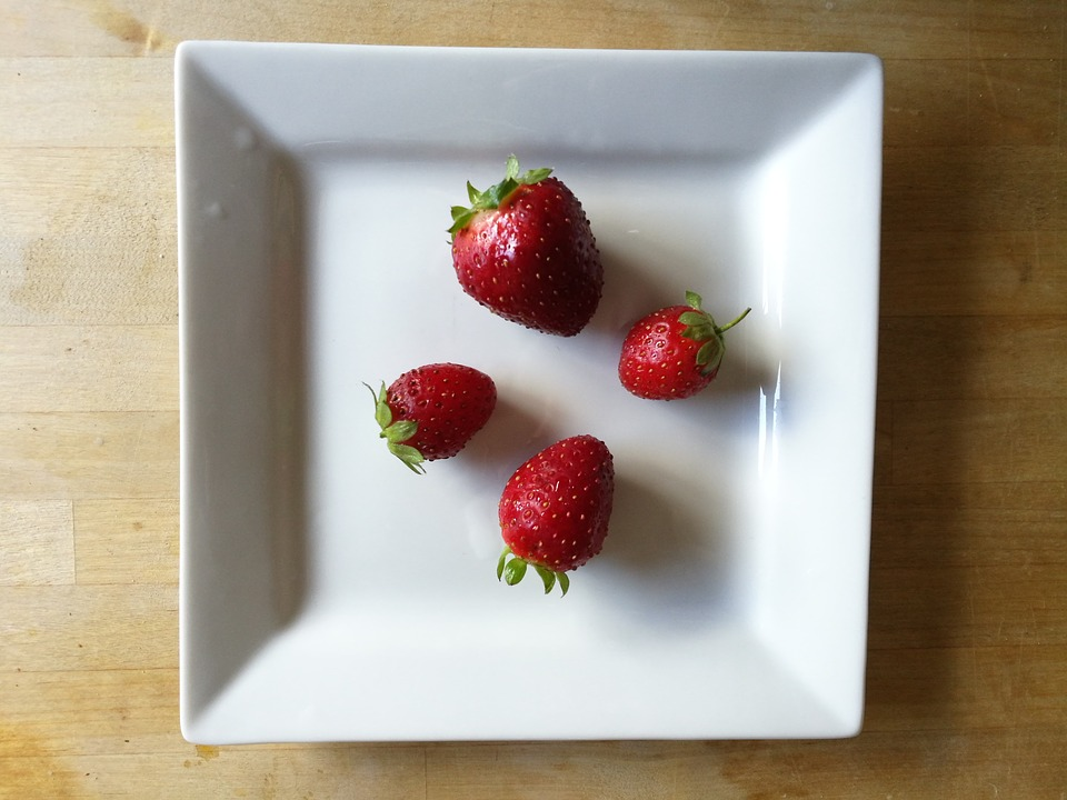 Table, Wood, Dish, White, Red, Strawberry, Square