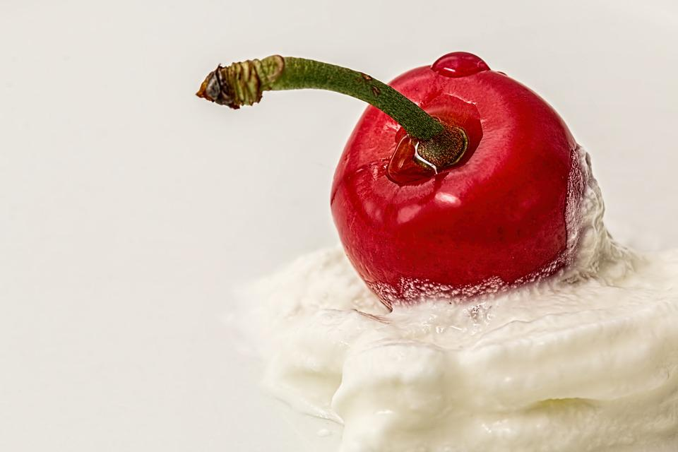 Cherry, Cream, Red, Dessert, Sweet, White, Summer