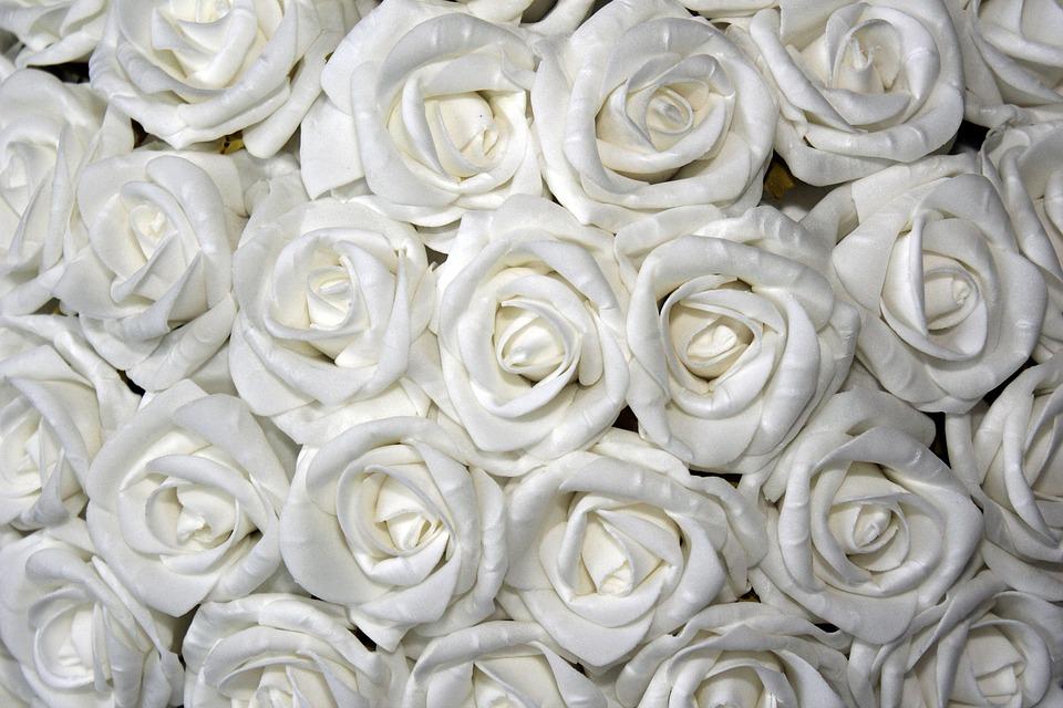 Roses, White, Table Decoration, Floral Arrangement