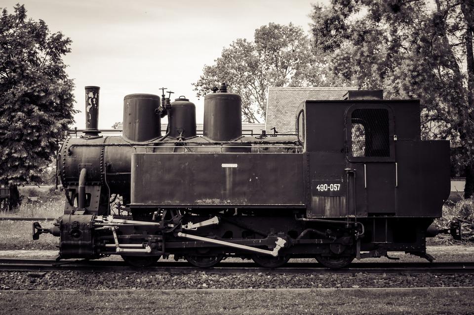 Train, Museum, Black, White, Locomotive, Nostalgia