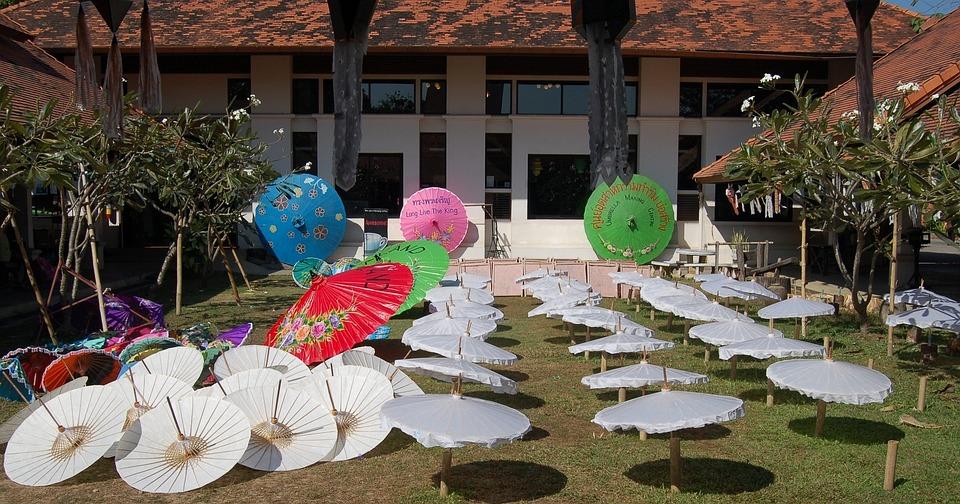 Parasols, Umbrellas, Thailand, Asia, White, Thai