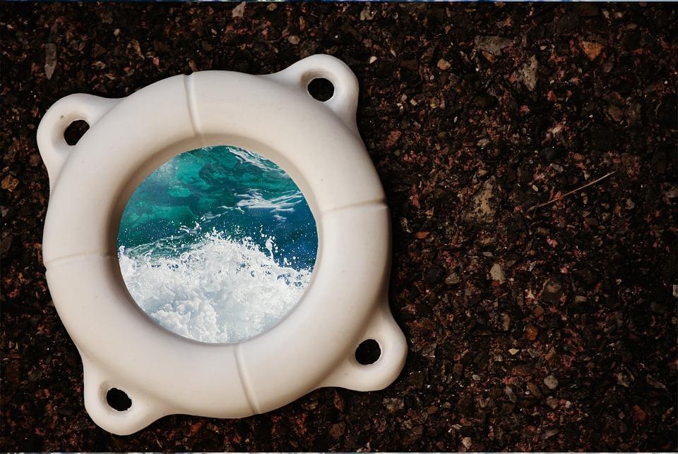 Lifebelt, Gypsum, Blank, Wave, Water, Unpainted, White