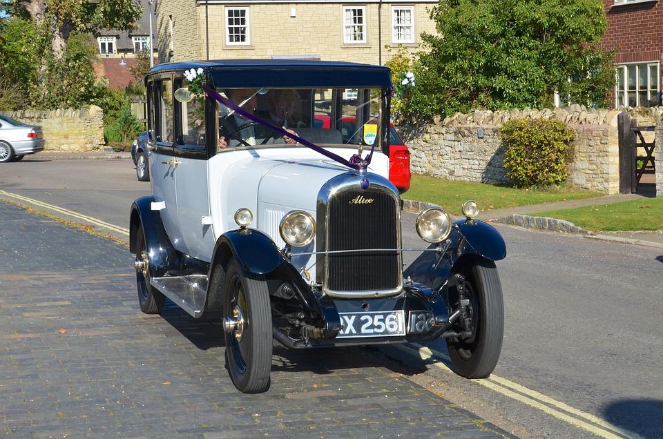 Classic Car, Wedding Car, White Wedding Car