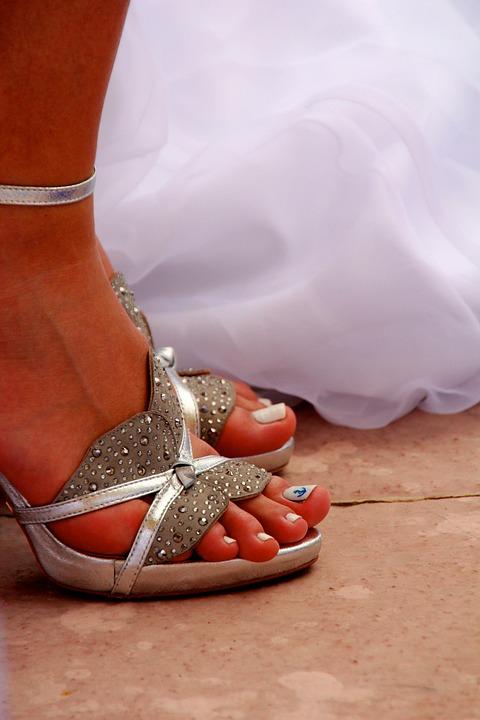Wedding, Shoes, Bride, White, Elegant, Women's Shoes