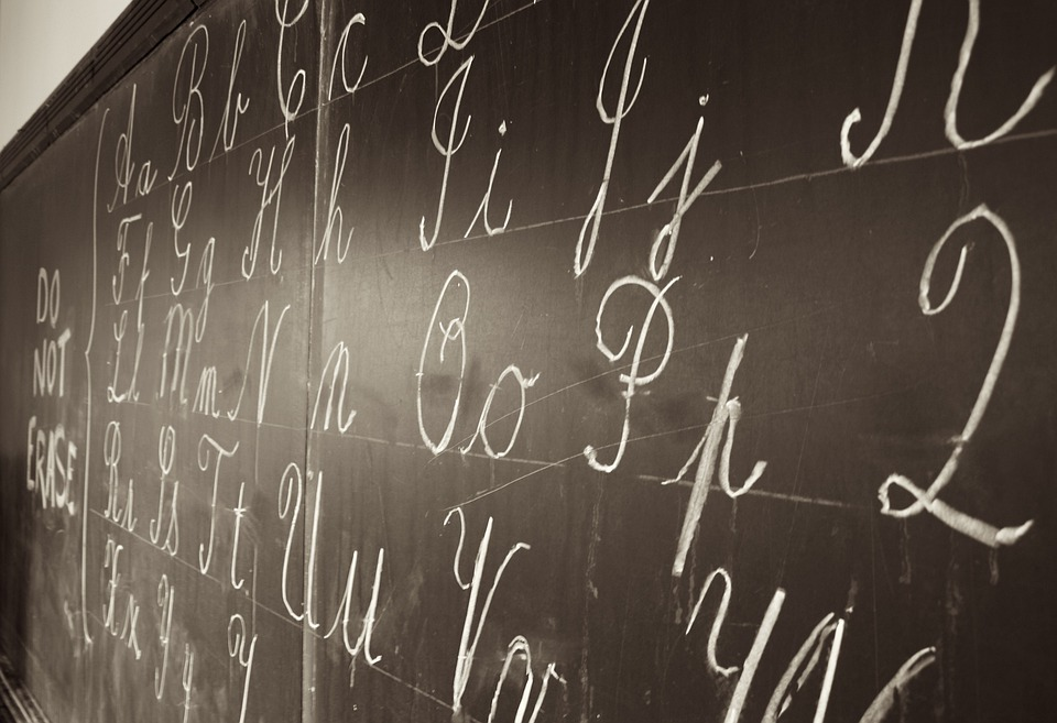 Blackboard, Writing, Chalk, White, Letters, Alphabets