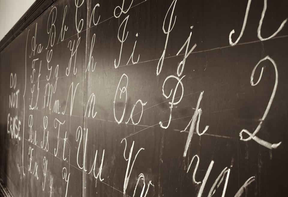Blackboard, Writing, Chalk, White, Letters, Alphabets