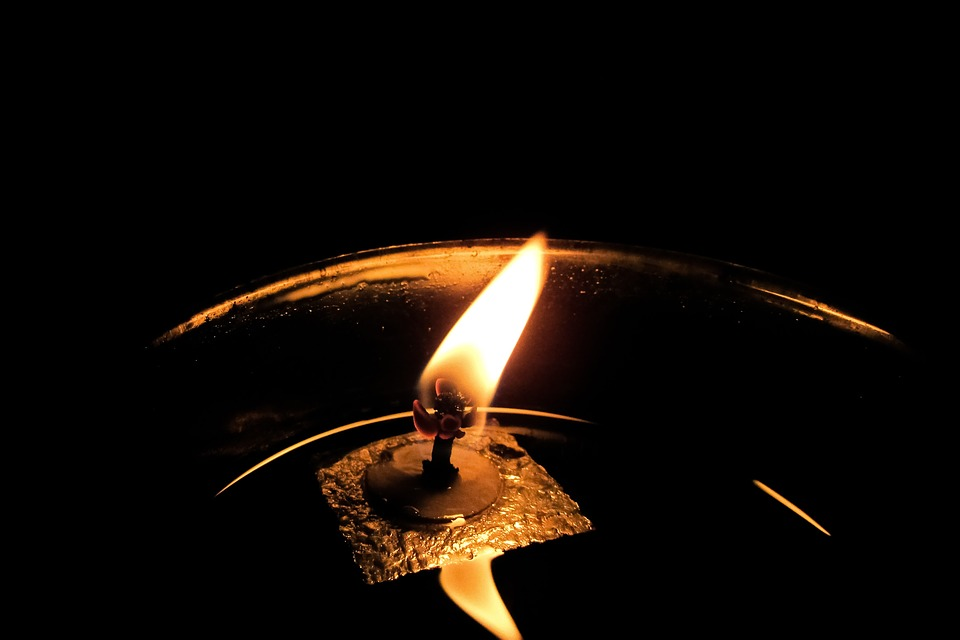 Oil Candle, Wick, Oil, Flame, Reflection, Church