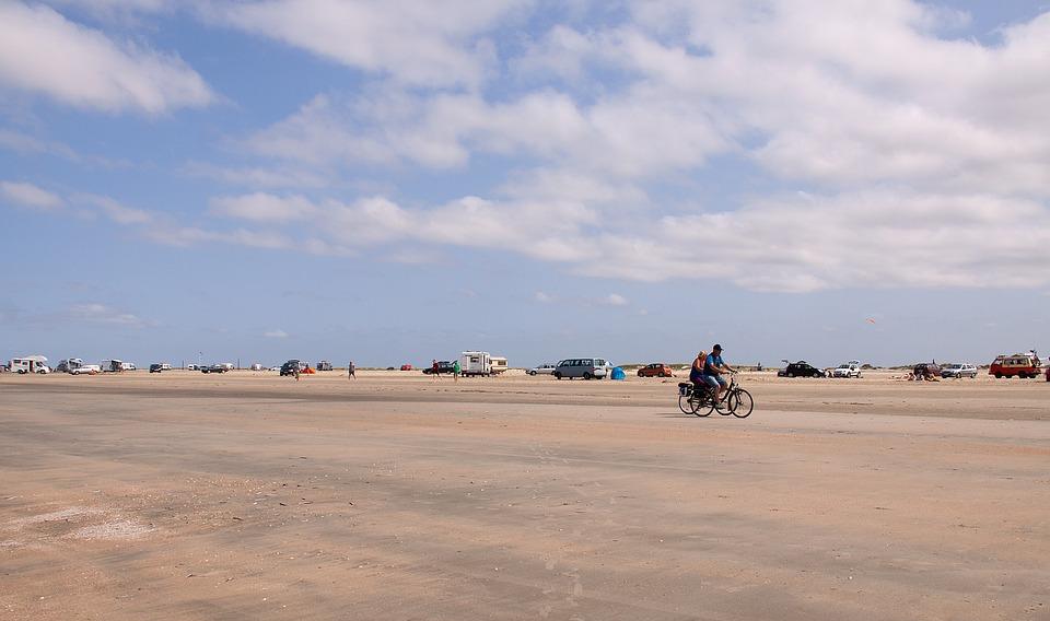 Romo, Lakolk, Wide, Beach, Sand, Cyclists