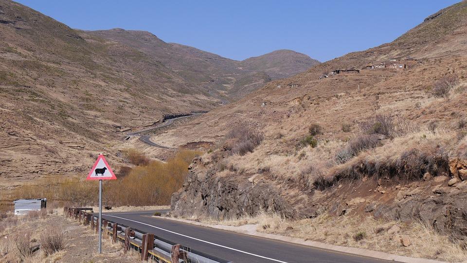 Lesotho, Mountain Landscape, Road, Wide, Landscape