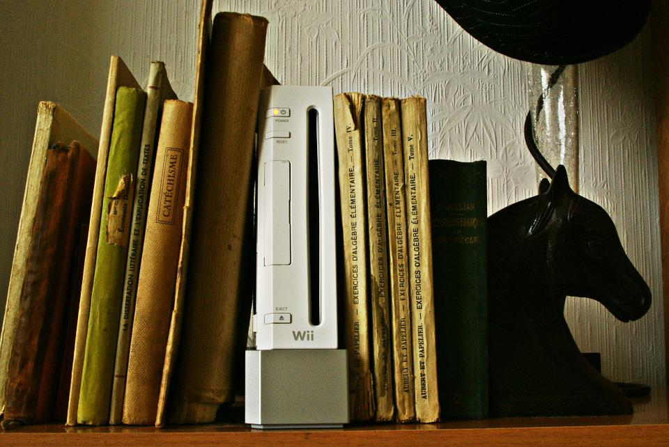 Books, Bookends, Games, Shelf, Old Book, Wii, Console