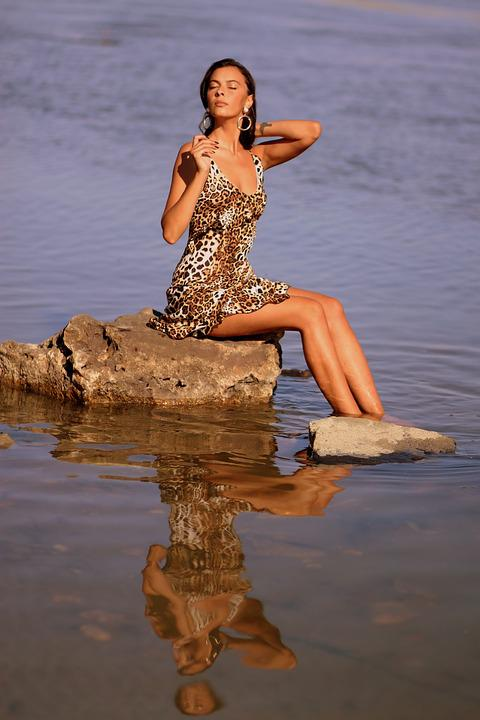 Girl, Wild, Water, Rock, Dress, Leopard, Beauty, Brown