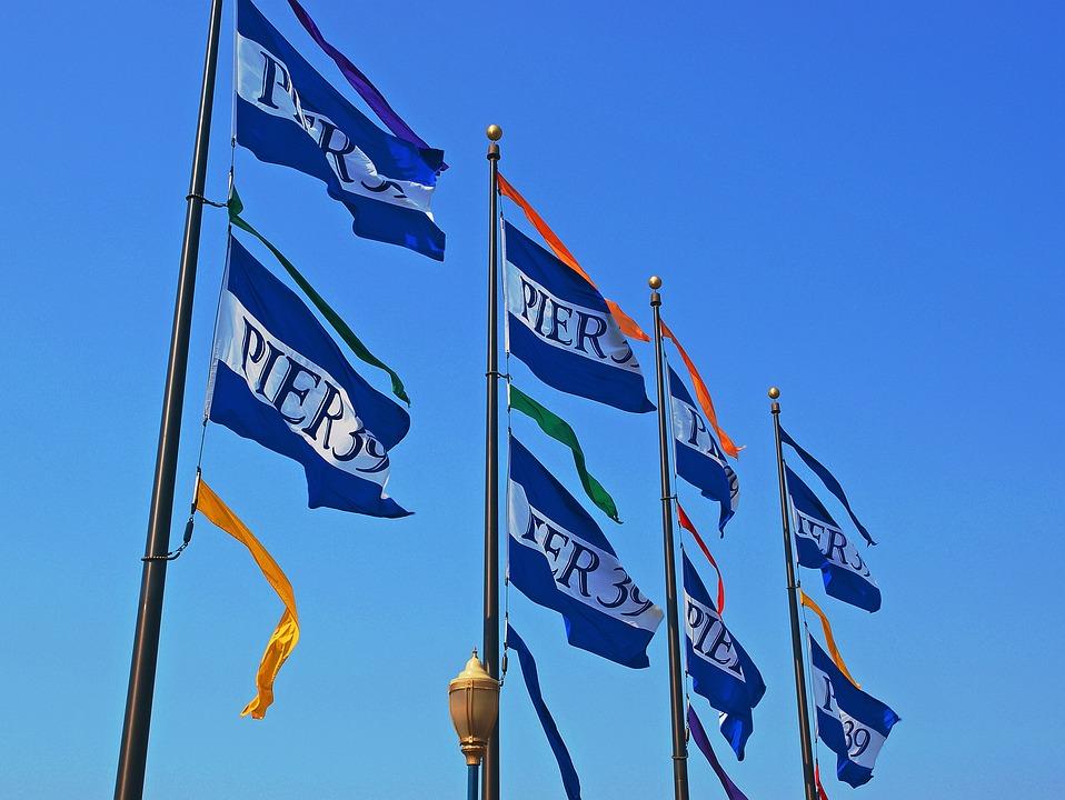 Flag, Pole, Poles, Wind, Outdoors, Sky, Banner