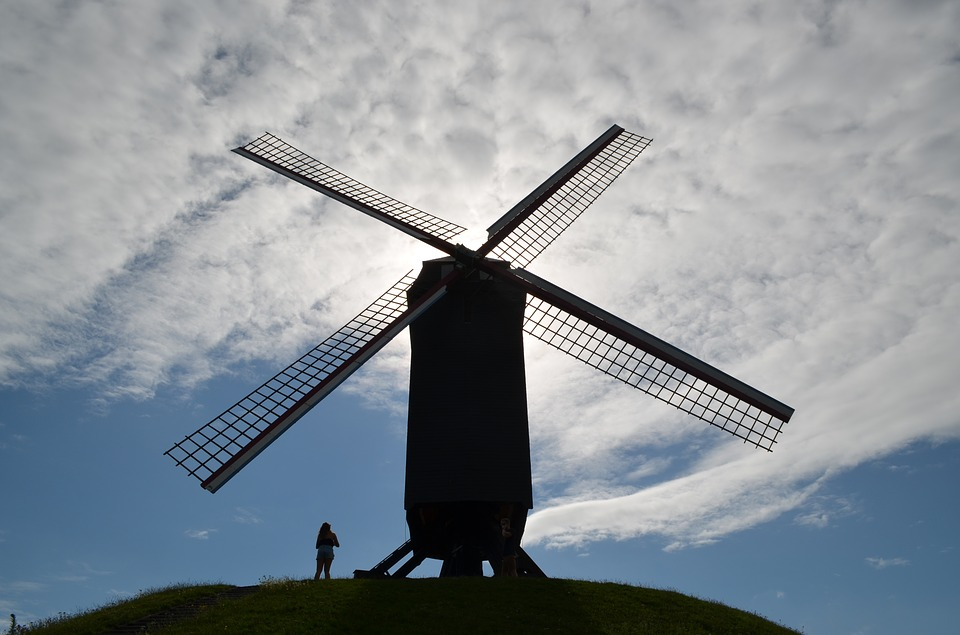 Windmill, Sky, Mill, Clouds, Landscape, Wing, Wind