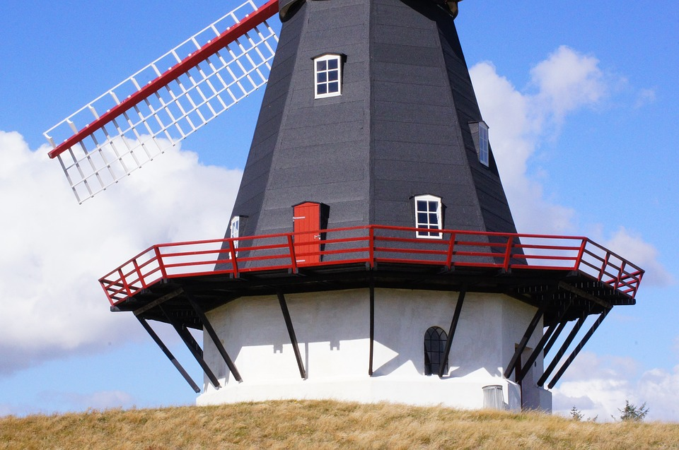 Windmill, Mill, Wing, Denmark, Wind, Müller, Blue Sky