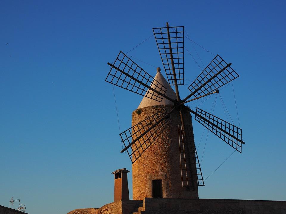 Windmill, Mallorca, Mill, Wind Energy, Wing, Wind Power