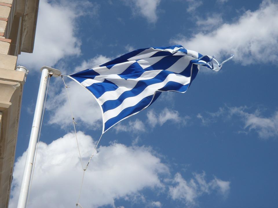Flag, Wind, Greece, Sky