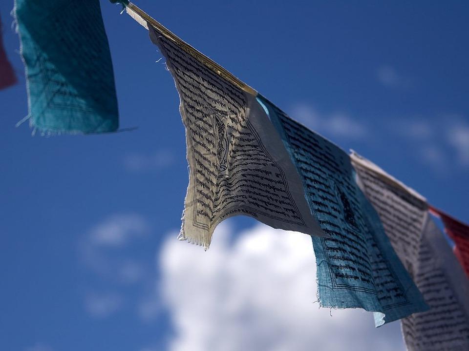 Prayer Flags, Buddhism, Wind, Sky, Blue, Nepal, Holy