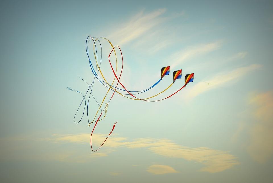 Wind Kite, Blue Sky, Air, Clouds, Looping