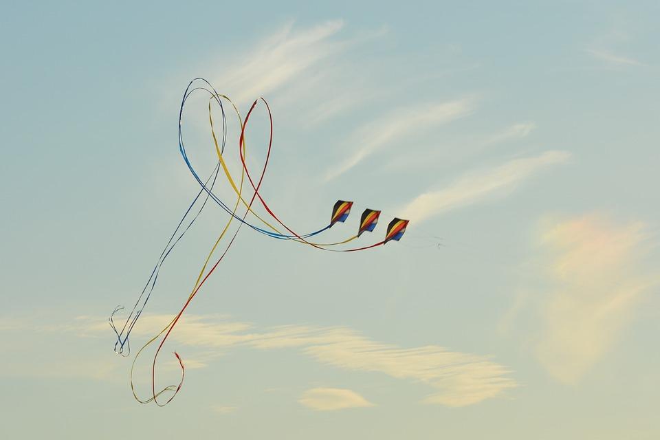 Wind Kite, Blue Sky, Air, Clouds