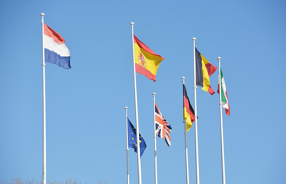 Flags, Country, States, Nations, Wind, Sky, Blue