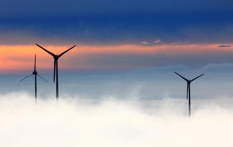Windmills, Clouds, Fog, Wind Power, Wind Park