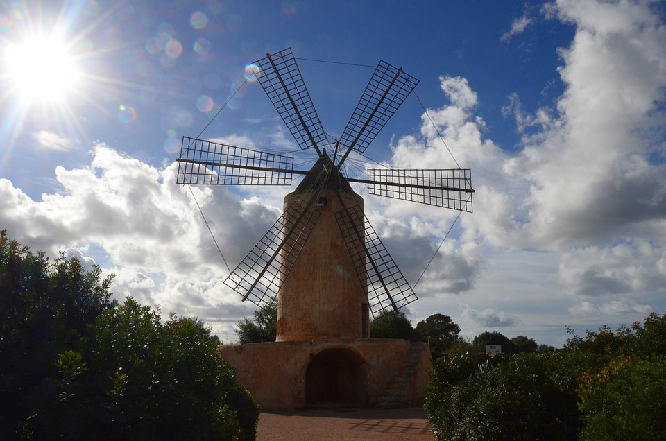 Windmill, Mill, Mallorca, Spring, Wind, Windräder